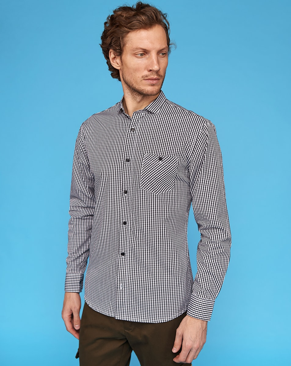 Black Gingham Cotton Shirt
