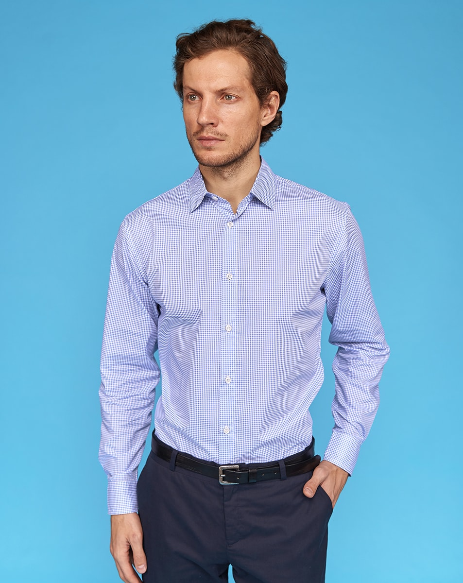 Blue Gingham Cotton Shirt